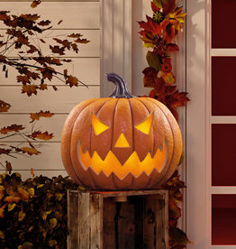 "SEASONAL VISIONS INTL LTD Halloween 17"" (43.2cm) Squatty Jack O Lantern Pumpkin With LED Flickering Lights and Sounds"