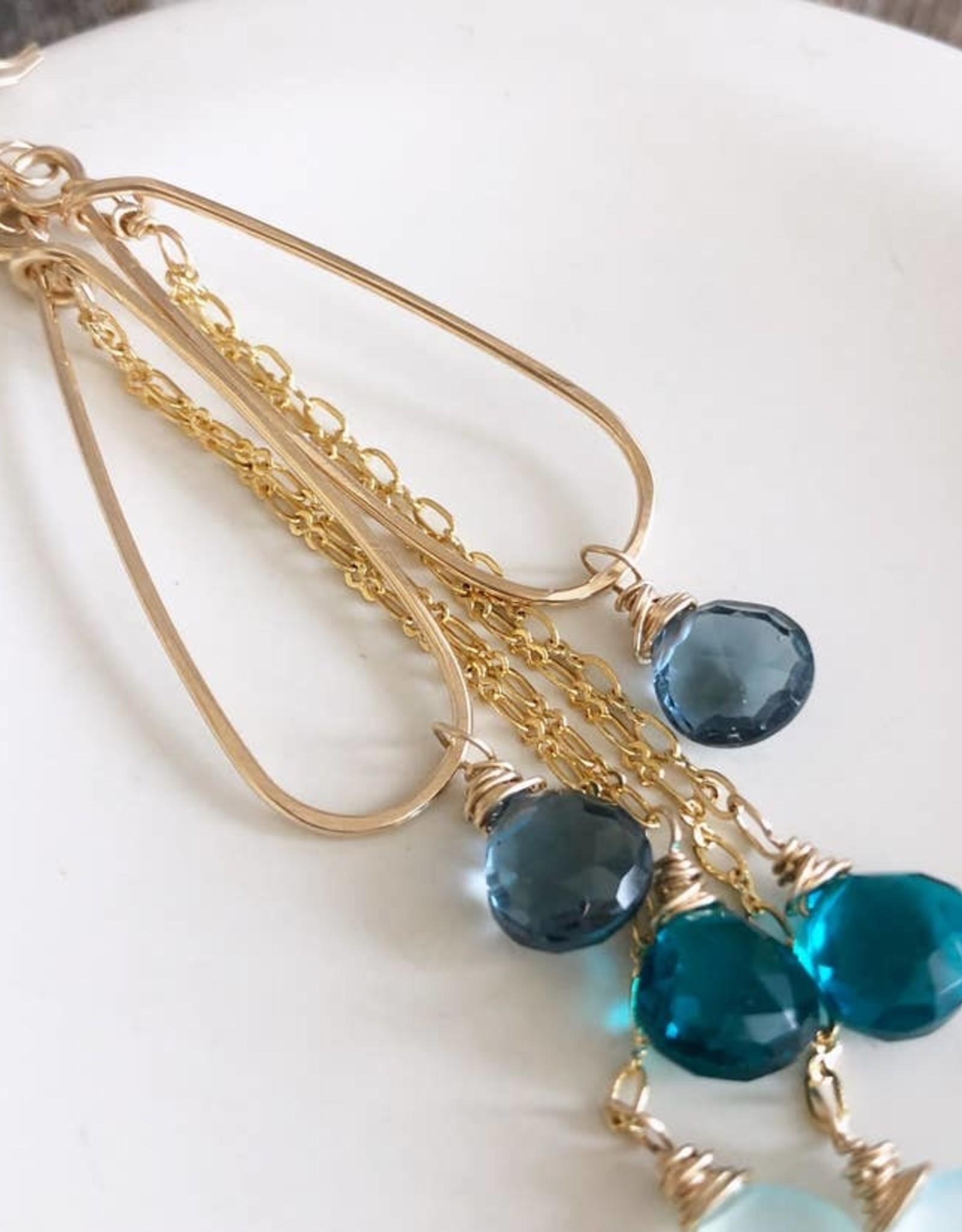 Quinn Sharp Jewelry Designs Ocean Blue Ombre Gemstone Teardrop Earrings
