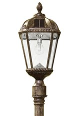Gama Sonic Royal Bulb Series Single Weathered Bronze Integrated Led Outdoor Solar Lamp Post Light with GS Solar LED Light Bulb