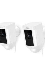 Ring Spotlight Cam Wired Outdoor Rectangle Security Camera, White (2-Pack)