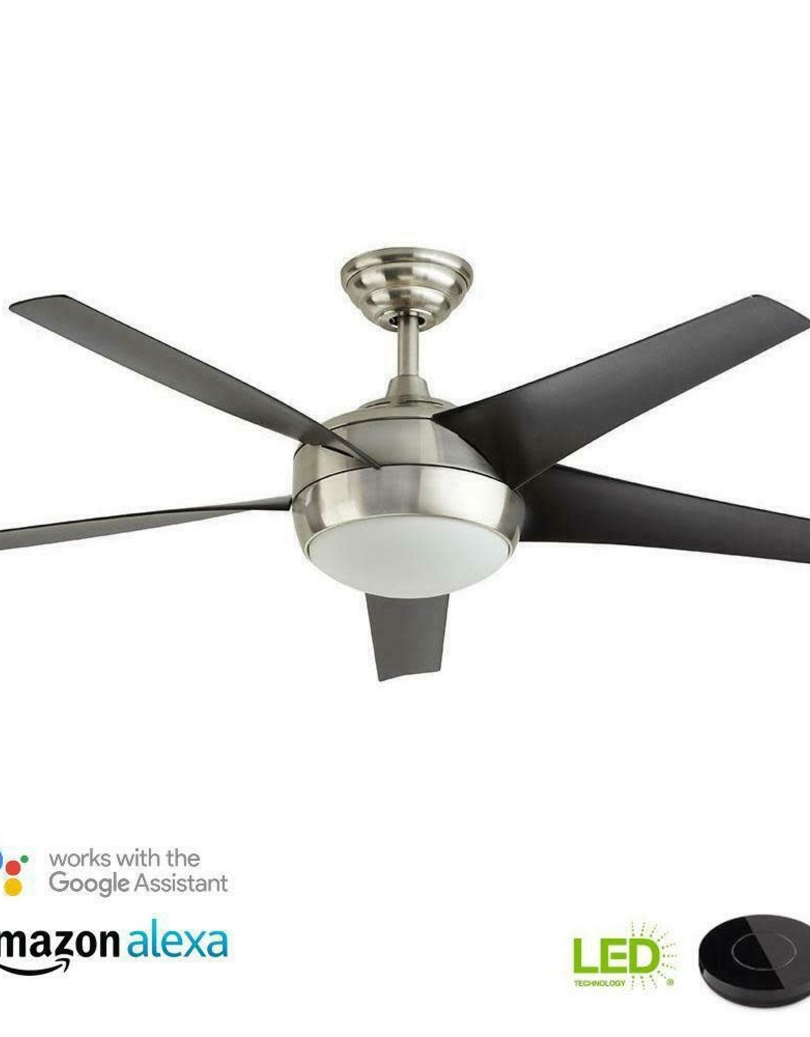 Home Decorators Collection Windward IV 52 in. LED Brushed Nickel Ceiling Fan with Light Kit Works with Google Assistant and Alexa