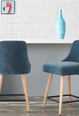 StyleWell Benfield Natural Wood Upholstered Counter Stool with Charleston Blue Seat (Set of 2) (19.48 in. W x 36.02 in. H)