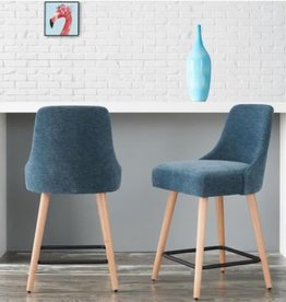 StyleWell Benfield Natural Wood Upholstered Counter Stool with Charleston Blue Seat (Set of 2)