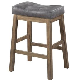 Benjara Wooden Rustic Gray Brown Backless Counter Height Stool (Set of 2)