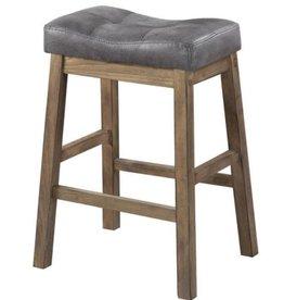 Benjara Wooden Rustic Gray Brown Backless Counter Height Stool