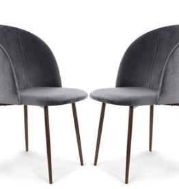 Edgemod Kantwell Cool Charcoal Velvet Dining Chair (Set of 2)
