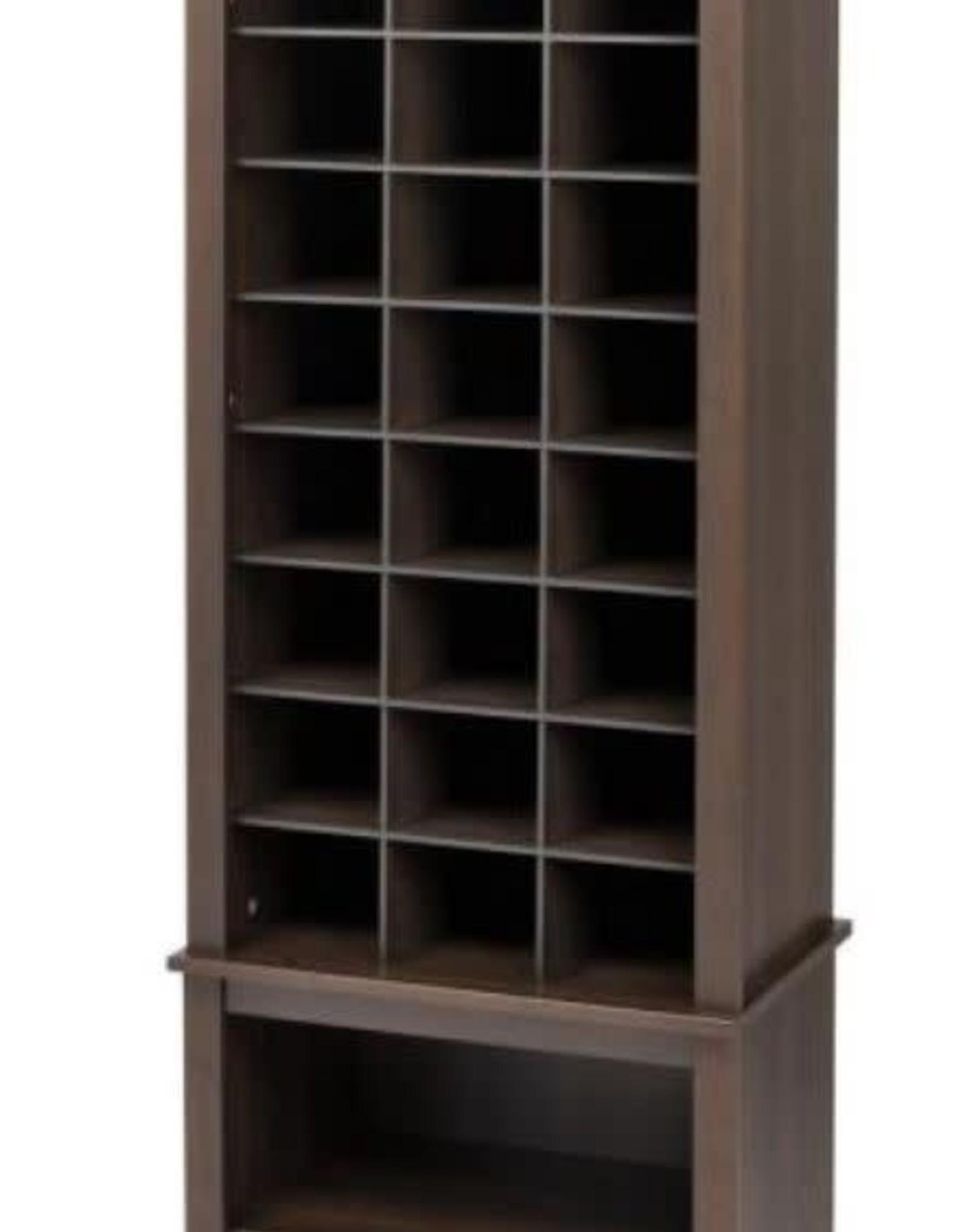Prepac 24.75 in. x 61.25 in. Tall 24-Cube Cabinet Tower Organizer in Espresso