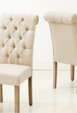 AC Pacific Natalie Roll Top Tufted Grey Linen Fabric Modern Dining Chair