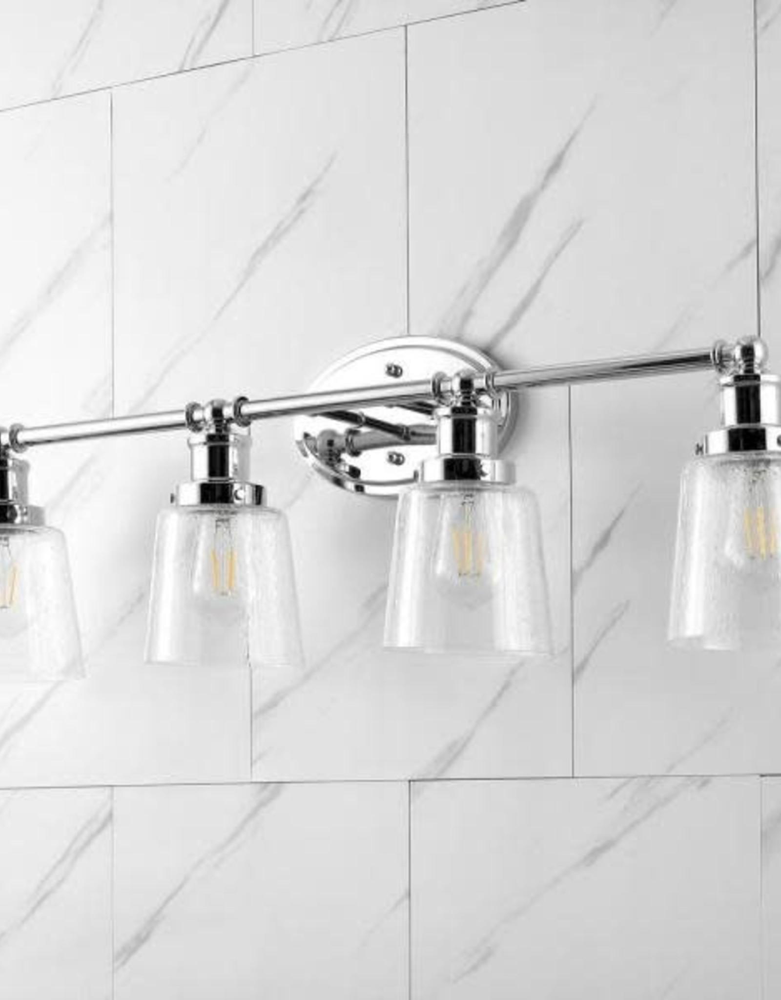 JONATHAN Y Beverly 31.75 in. 4-Light Chrome Iron/Seeded Glass Classic Cottage LED Vanity Light