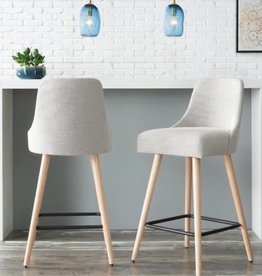 StyleWell Benfield Natural Finish Upholstered Bar Stool with Back and Biscuit Beige Seat (Set of 2)