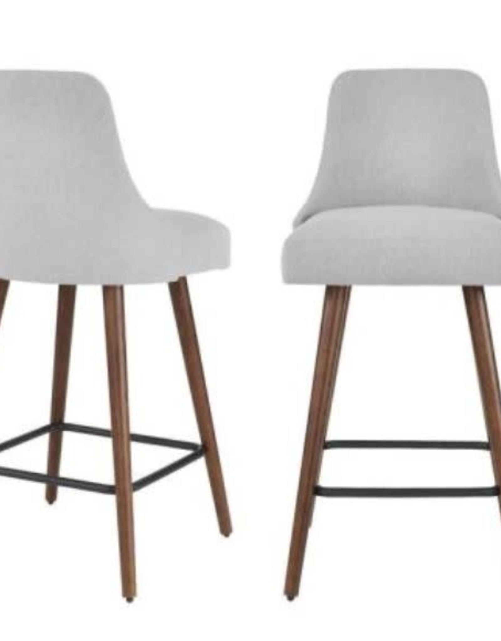 StyleWell Benfield Natural Finish Upholstered Bar Stool with Back and Biscuit Beige Seat (Individual)