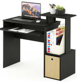 Furrino 40 in. Rectangular Black/Brown 1 Drawer Computer Desk with Keyboard Tray