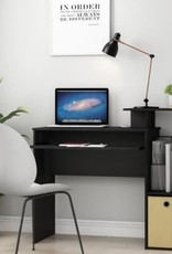 Furrino 40 in. Rectangular Black/Brown 1 Drawer Computer Desk with Keyboard Tray