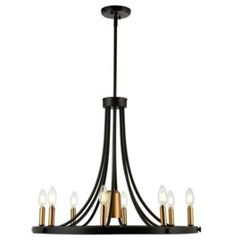 JONATHAN Y Urbanna 27 in. 9-Light Black/Brass Gold Adjustable Iron Transitional Modern LED Chandelier