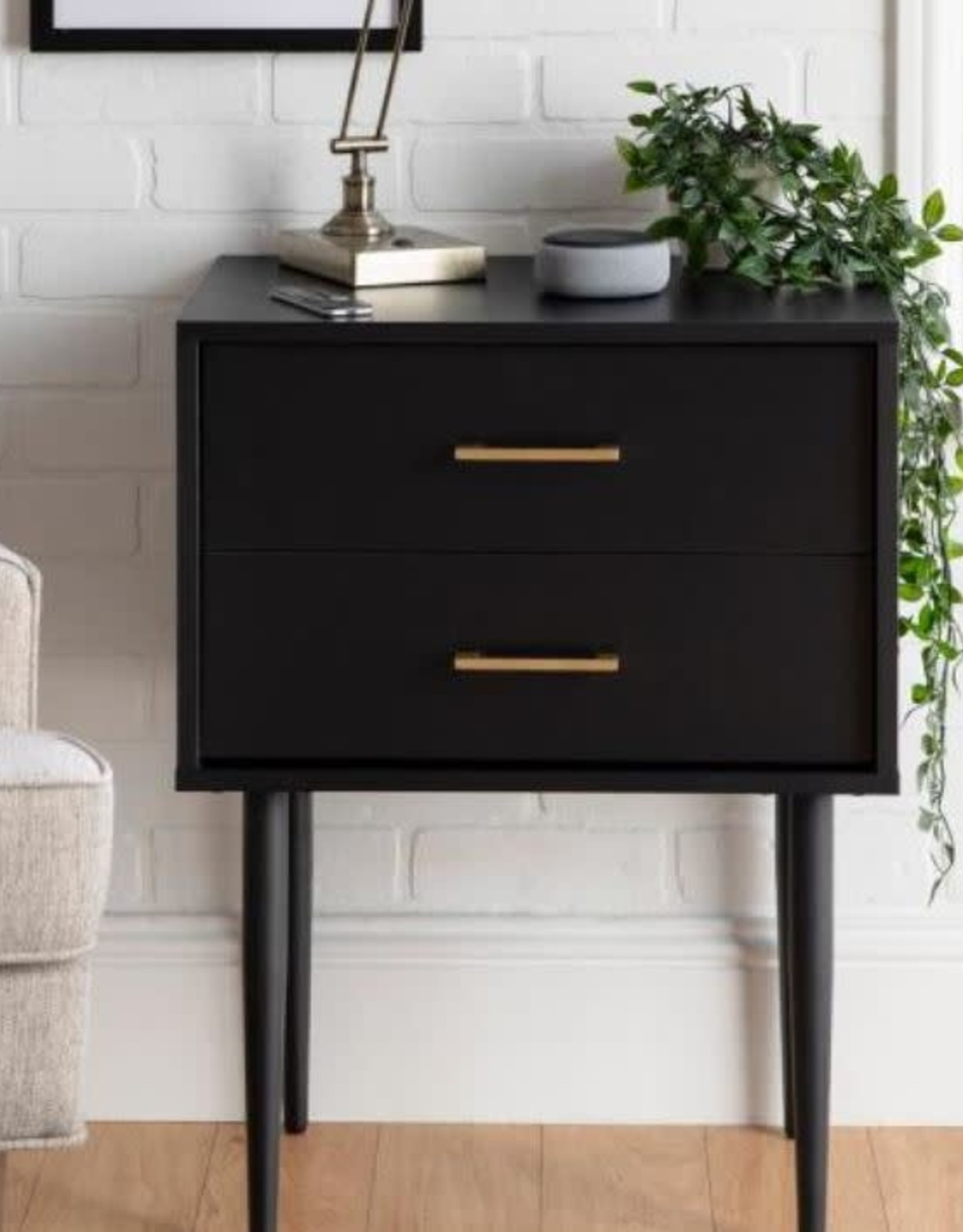 Walker Edison Furniture Company 2 Drawer Mid Century Modern Side Accent Table - Black