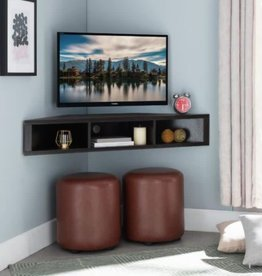 Furniture of America Emmeline 47 in. Cappuccino Particle Board Corner TV Stand