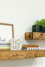 Del Hutson Designs Artisan Haute 6in x 36in x 3.5in Dark Walnut Pine Wood Floating Box Set of Two Decorative Wall Shelves