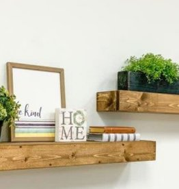 Del Hutson Designs Artisan Haute 6in x 36in x 3.5in Dark Walnut Pine Wood Floating Box Set of Two Decorative Wall Shelves