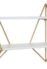 Kate and Laurel Melita 19 in. x 19 in. x 7 in. White/Gold Decorative Wall Shelf