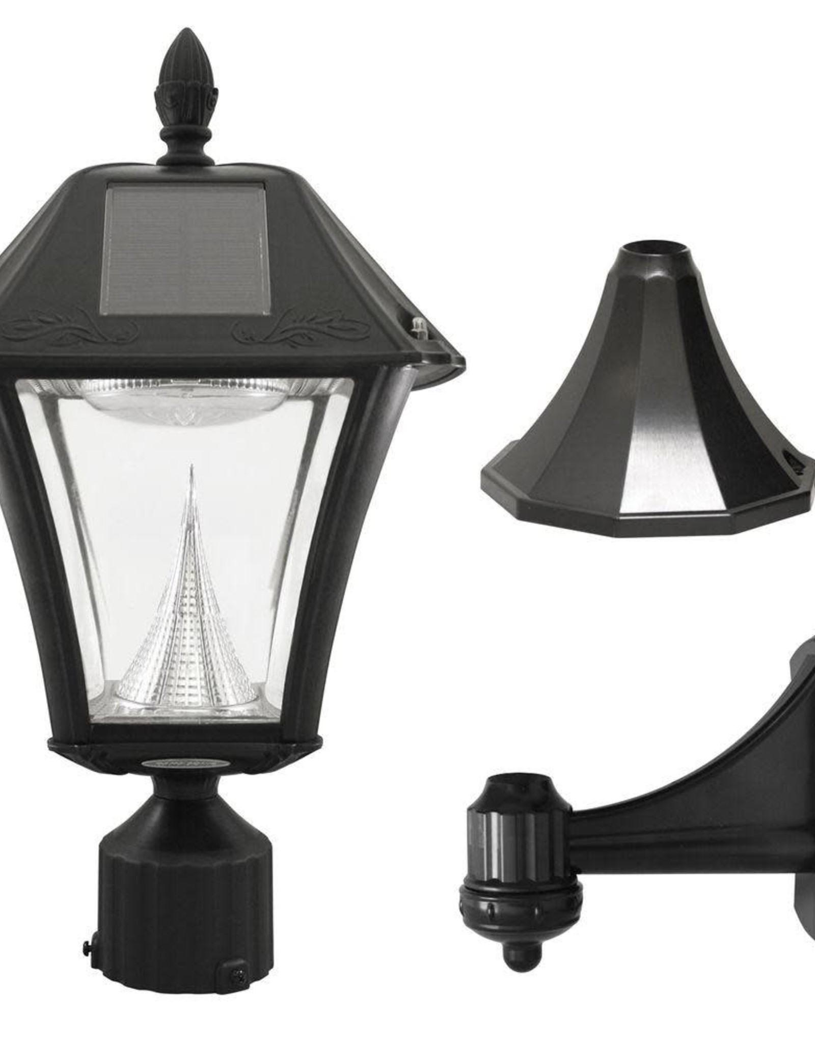 Gama Sonic Baytown II Black Resin Outdoor Integrated LED Solar Post/Wall Light with Bright-White LEDs