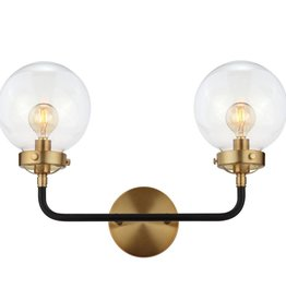 JONATHAN Y Caleb 18 in. 2-Light Black/Brass Wall Sconce