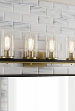 Home Decorators Collection Boswell Quarter 4-Light Vintage Brass Vanity Light with Black Distressed Wood Accents