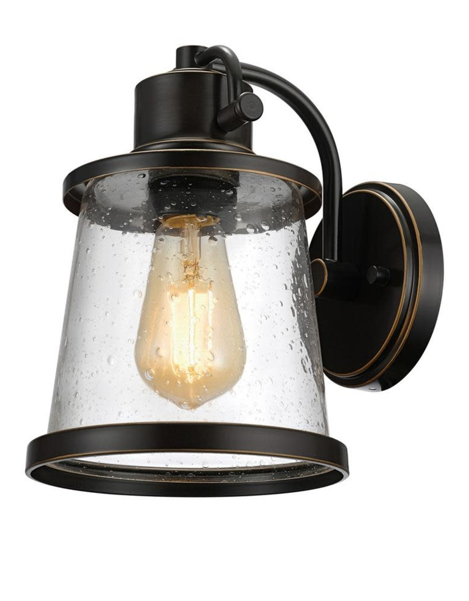 Globe Electric Charlie Collection 1-Light Oil-Rubbed Bronze LED Outdoor Wall Sconce with Clear Seeded Glass Shade, LED Bulb Included