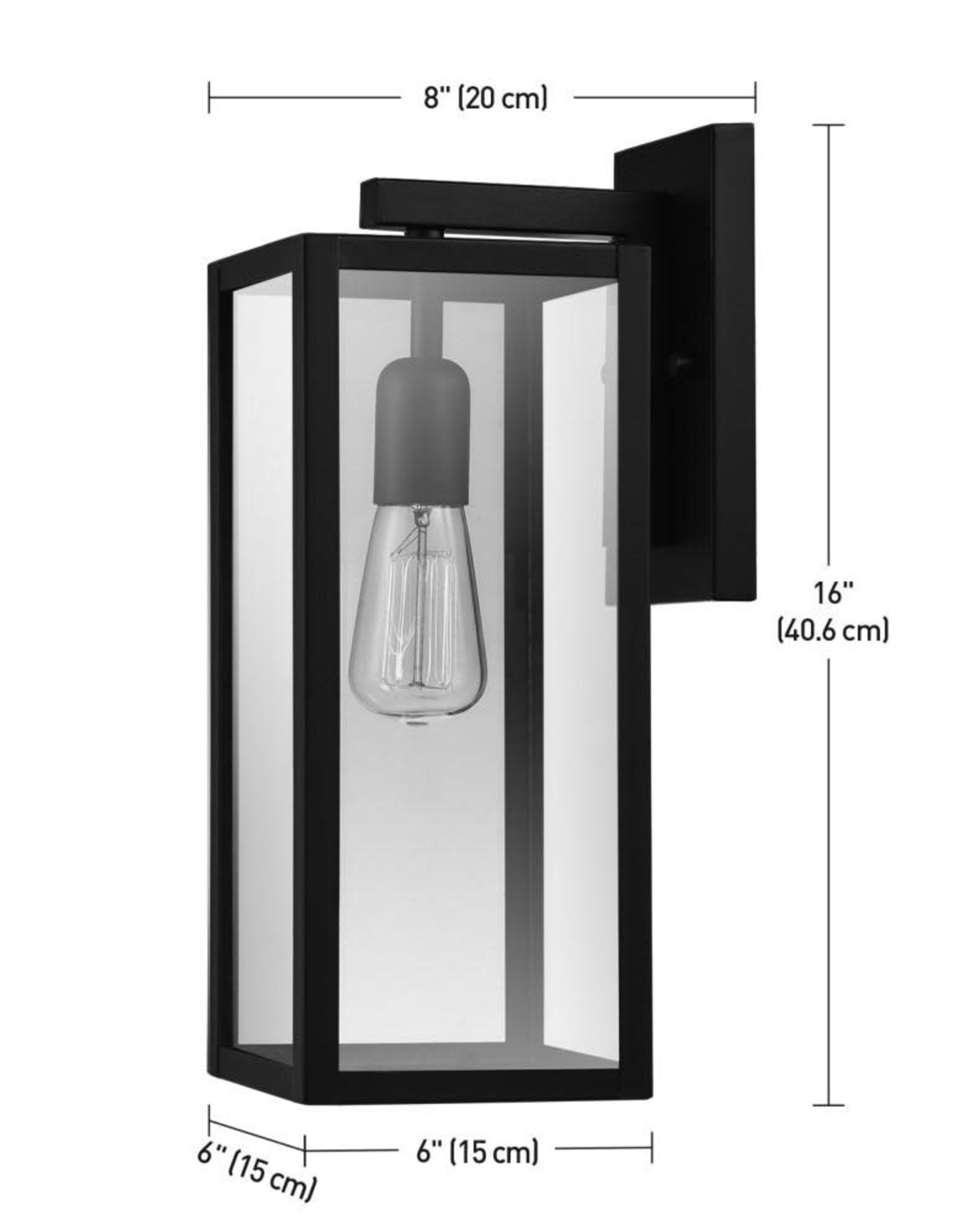 Globe Electric Hurley 1-Light Black Outdoor Wall Lantern Sconce