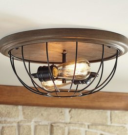 Home Decorators Collection 15.75 in. 2-Light Vintage Bronze Bedroom Flush Mount with Open Cage Frame