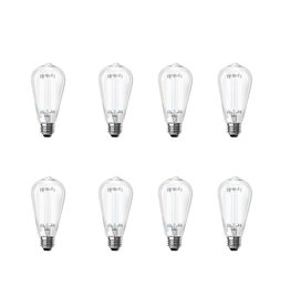 Feit Electric 60-Watt Equivalent ST19 Dimmable LED Clear Glass Vintage Edison Light Bulb With Straight Filament Daylight (8-Pack)