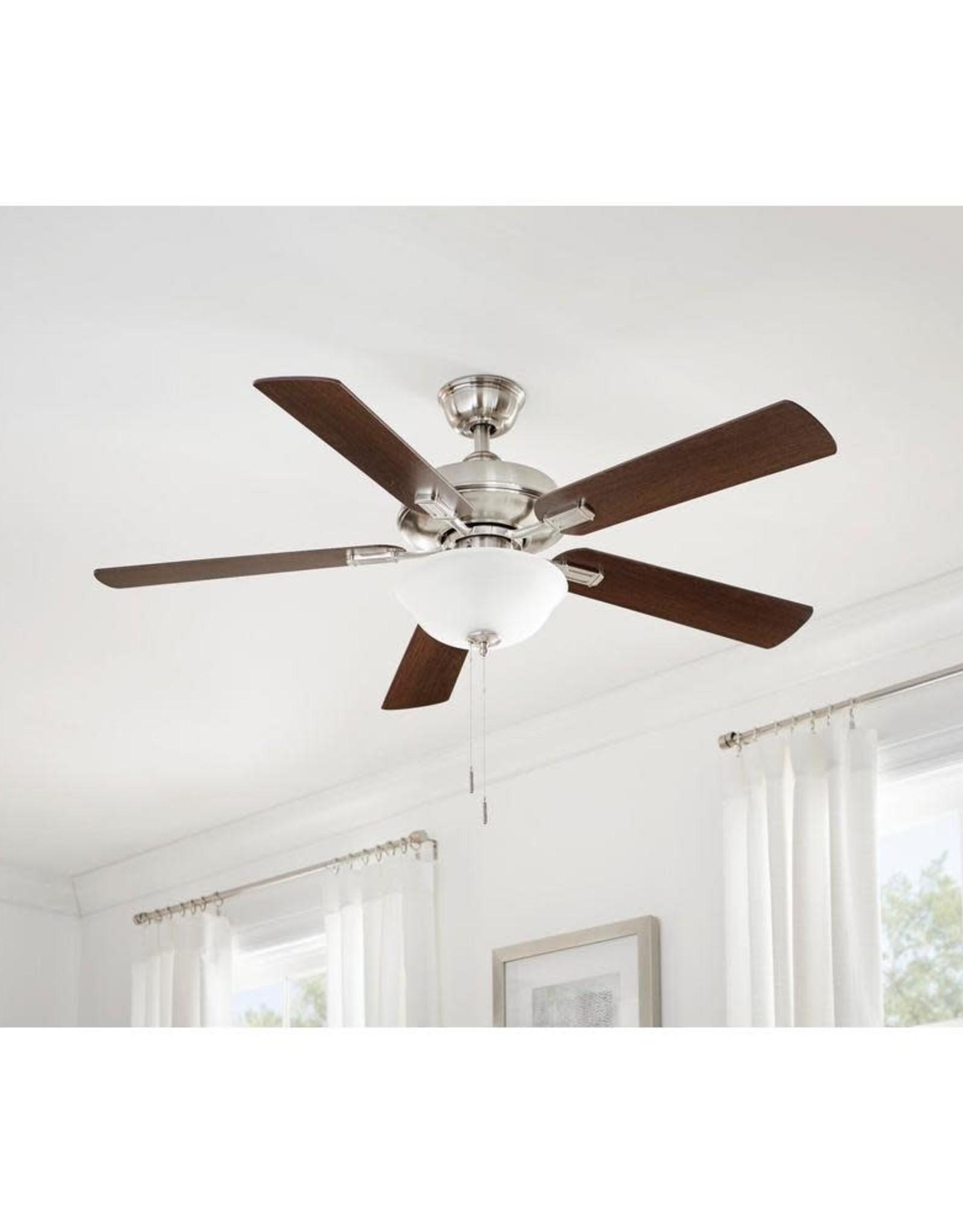 Hampton Bay Larson 52 in. LED Brushed Nickel Ceiling Fan With Light Kit