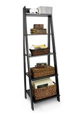 Adeptus 62.2 in. Black Wood 5-shelf Ladder Bookcase with Open Back
