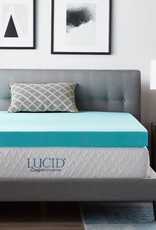 Lucid Comfort Collection 4 Inch Gel and Aloe Infused Memory Foam Topper - Twin XL