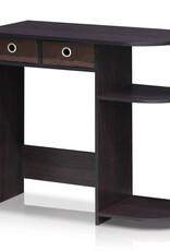 furinno 32 in. Rectangular Walnut 2 Drawer Computer Desk with Built-In Storage