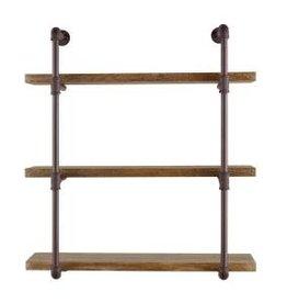 DANYA B Urbanne Industrial Aged 3-Tiered Wood Print MDF and Metal Pipe Floating Wall Shelf