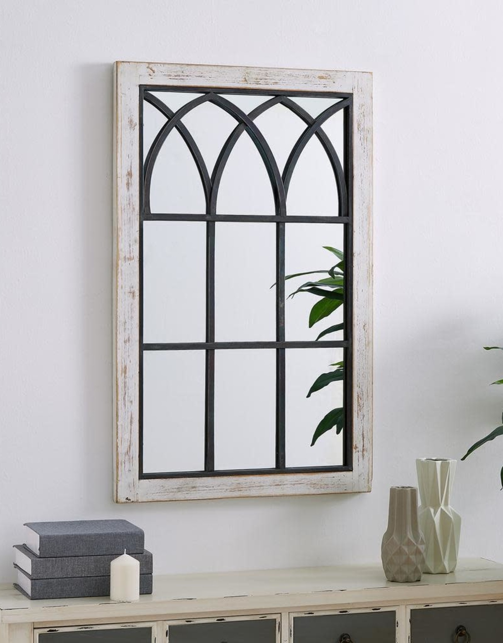 FirsTime Medium Rectangle Distressed White Classic Mirror (37.5 in. H x 24 in. W)