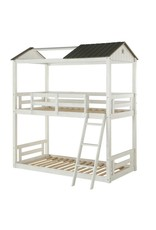Acme Furniture Nadine Cottage Weathered White and Washed Gray Twin Over Bunk Bed