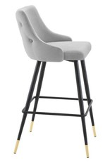 Modway Adorn Performance Velvet Bar Stool in Light Gray