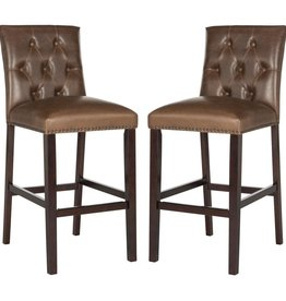 SAFAVIEH INTL LLC Norah 31.5 in. Bar Stool in Brown (Set of 2)