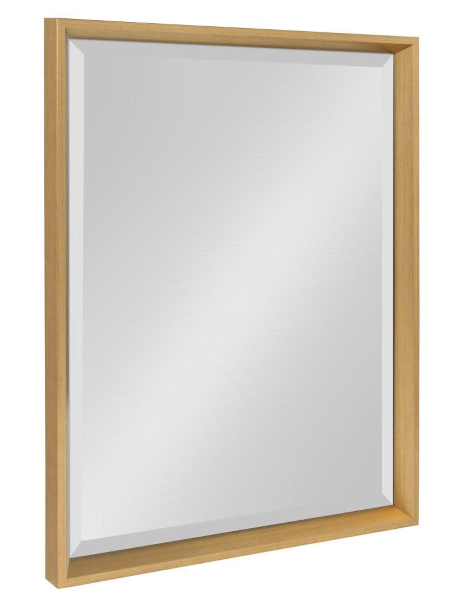 Kate and Laurel Calter 17.5 in. W x 23.5 in. H Framed Rectangular Beveled Edge Bathroom Vanity Mirror in Gold