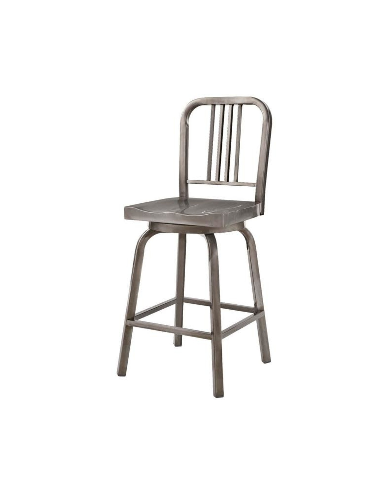 StyleWell Kipling Gunmetal Gray Metal Swivel Counter Stool with Back (17.32 in. W x 40.55 in. H)