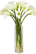 Nearly Natural 20 in. H Cream Mini Calla Lily Silk Flower Arrangement