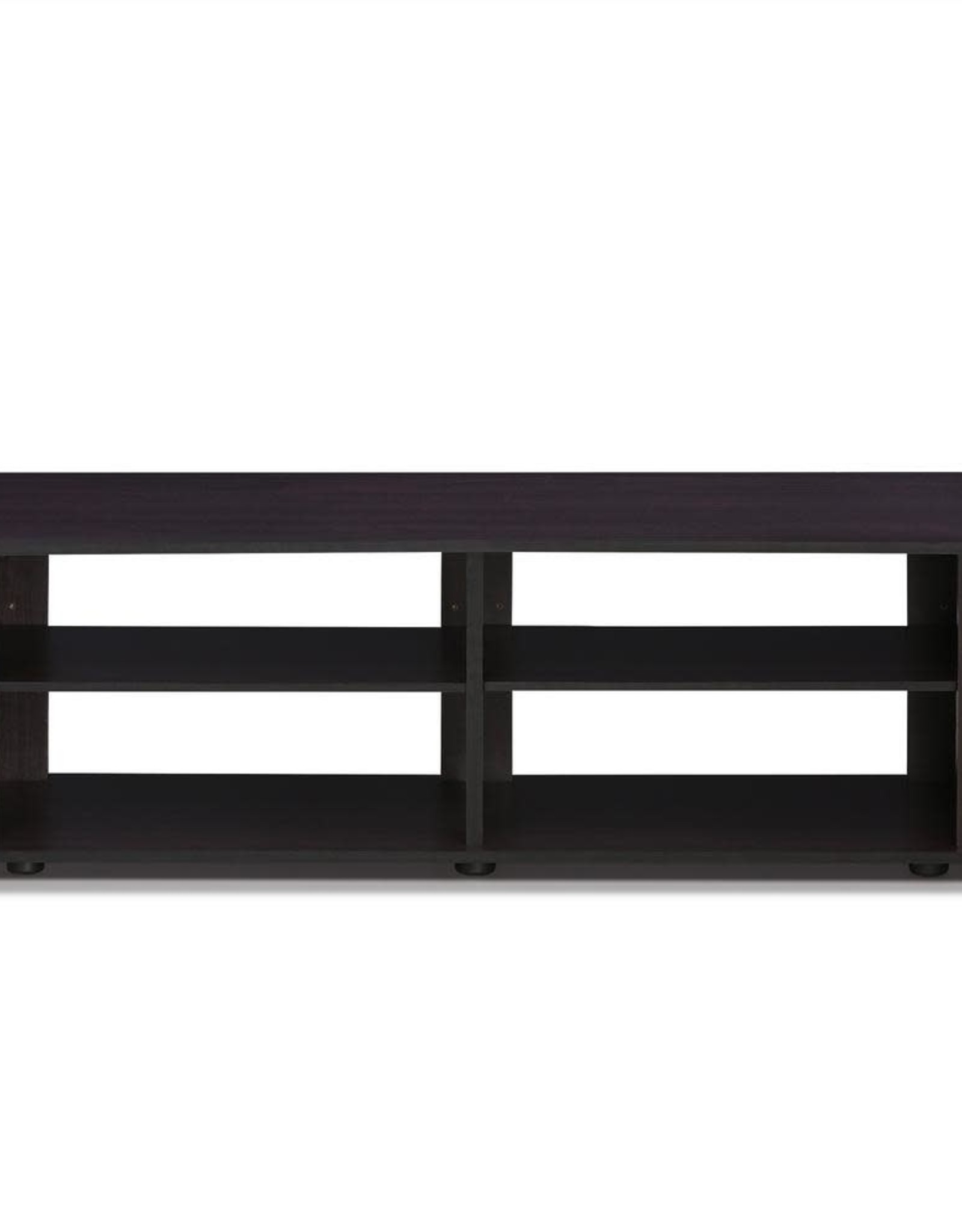 Furrino THE 43 in. Dark Walnut Particle Board TV Stand Fits TVs Up to 42 in. with Open Storage