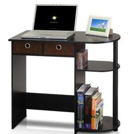 Furrino 32 in. Rectangular Espresso 2 Drawer Computer Desk with Built-In Storage