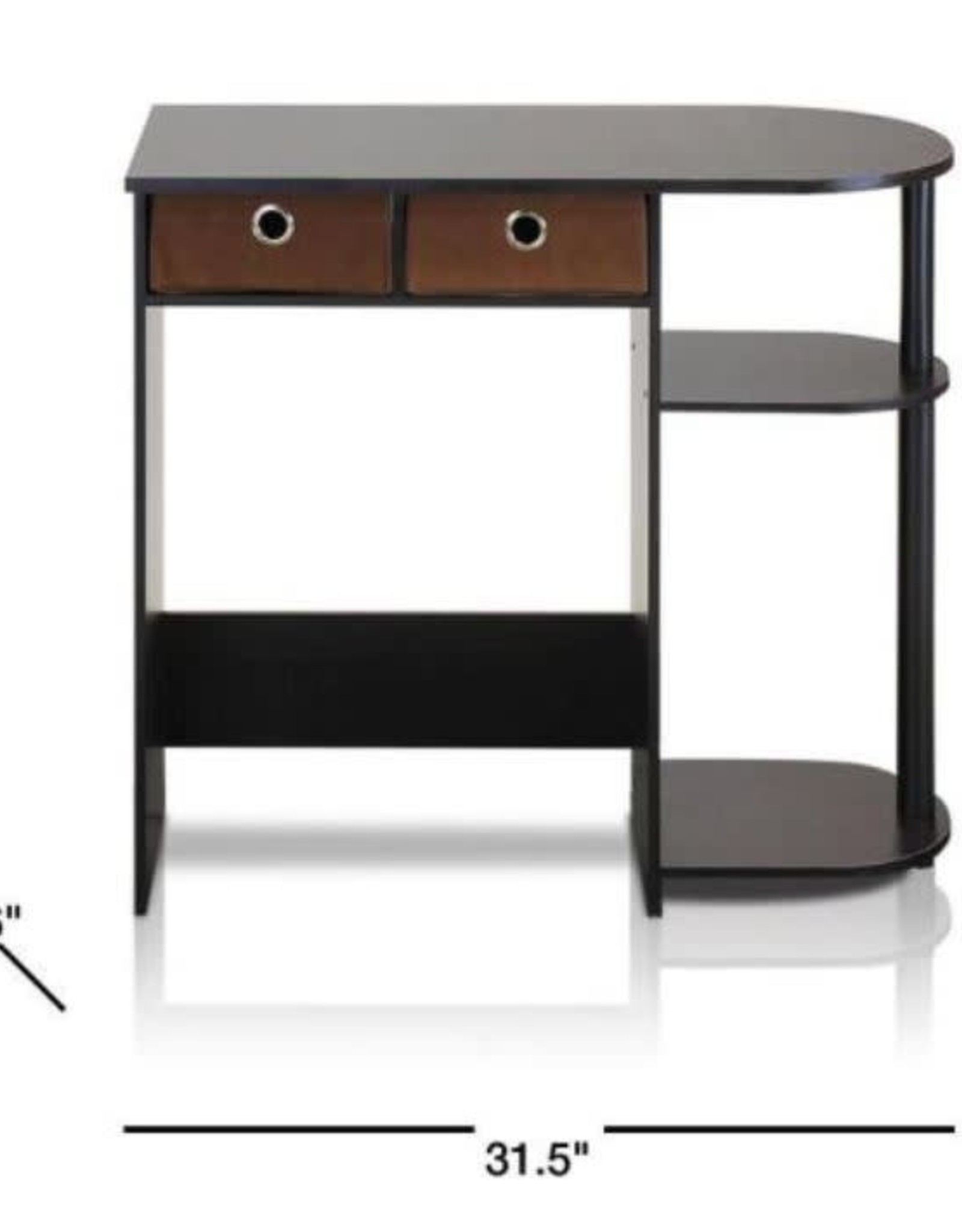 Furrino 32 in. Rectangular Espresso 2 Drawer Computer Desk with Built-In Storage