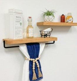 Del Hudson True Floating 5.5 in x 24 in Walnut Pine Wood Floating Decorative Wall Shelf and Towel Bar Set