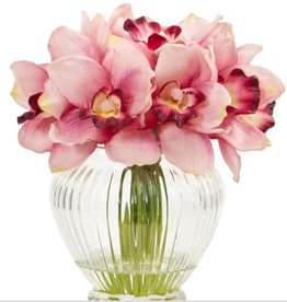Nearly Natural Indoor Cymbidium Orchid Artificial Arrangement in Glass Vase