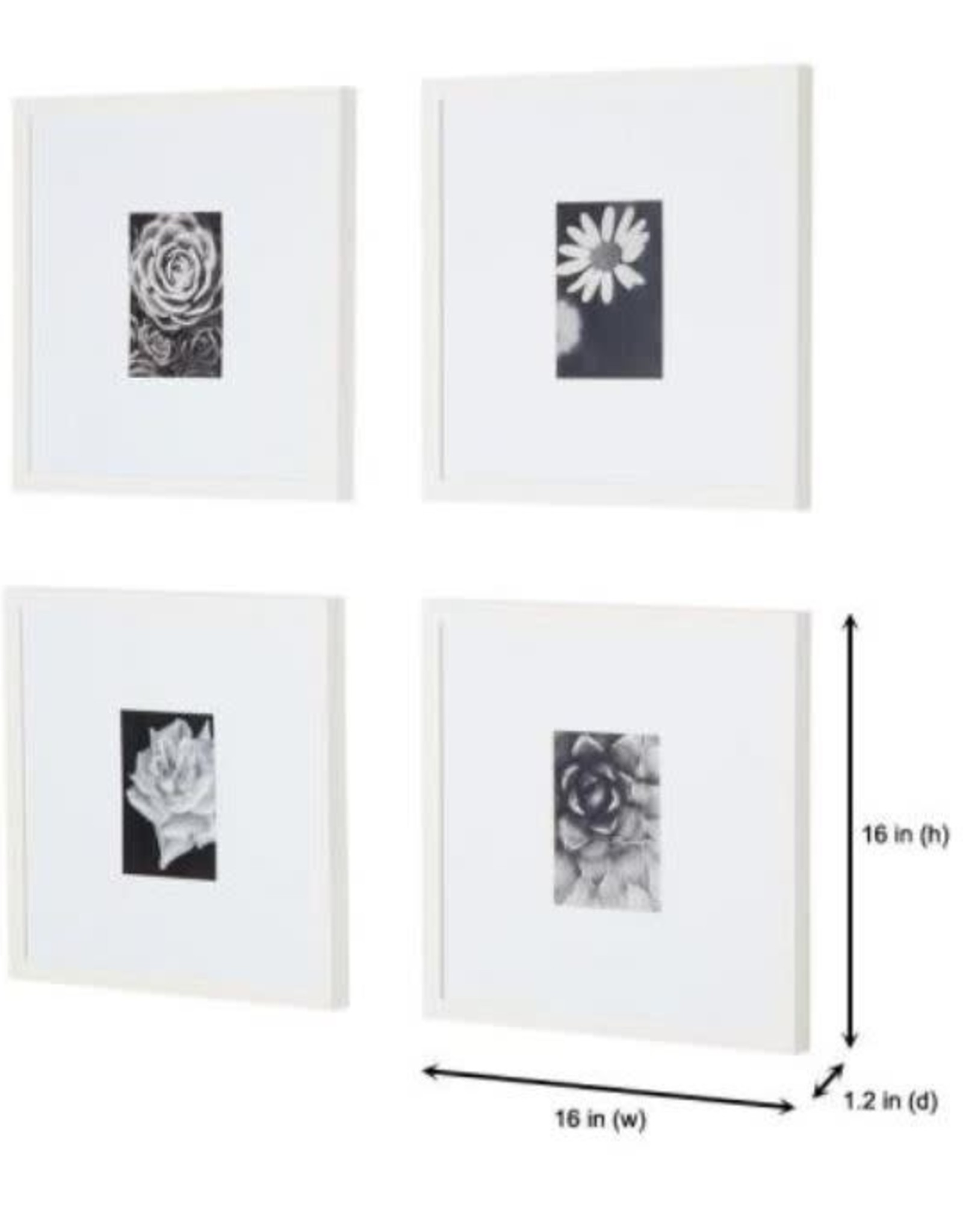 StyleWell StyleWell White Frame with White Matte Gallery Wall Picture Frames (Set of 4)