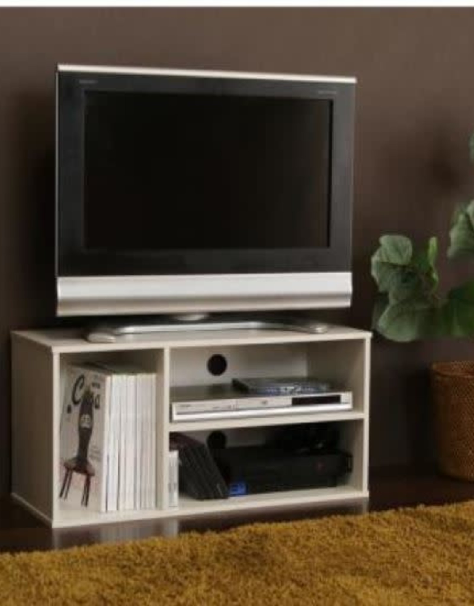 IRIS USA INC 11 in. White Particle Board TV Stand Fits TVs Up to 32 in. with Cable Management