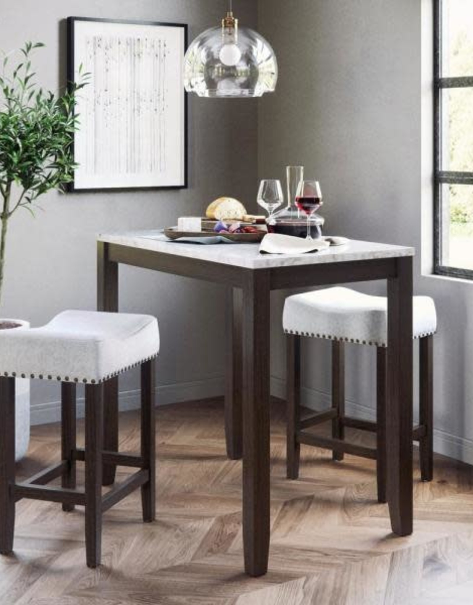 Nathan James Viktor Three Piece Dining Set Kitchen Pub Table White Marble Top, Dark Brown Solid Wood Base, Light Gray Fabric Seat